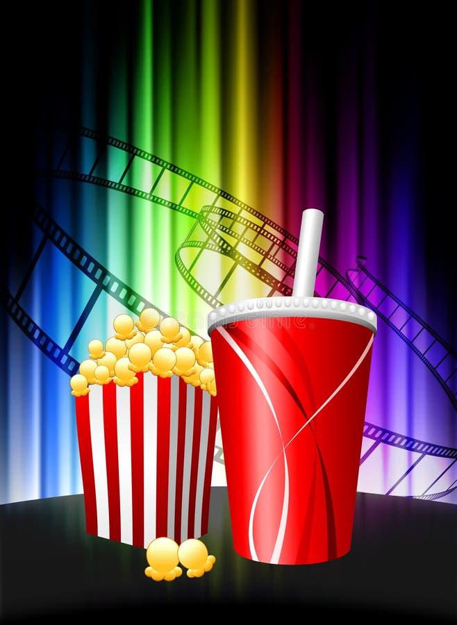 Popcorn und Soda auf abstraktem Spektrum-Hintergrund stock abbildung