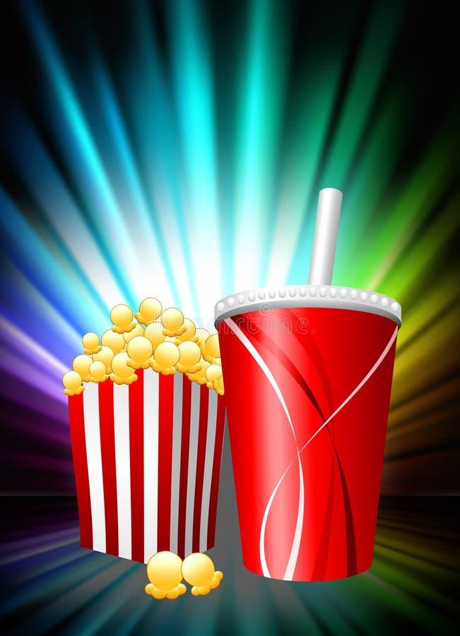 Popcorn und Soda auf abstraktem Spektrum-Hintergrund lizenzfreie abbildung