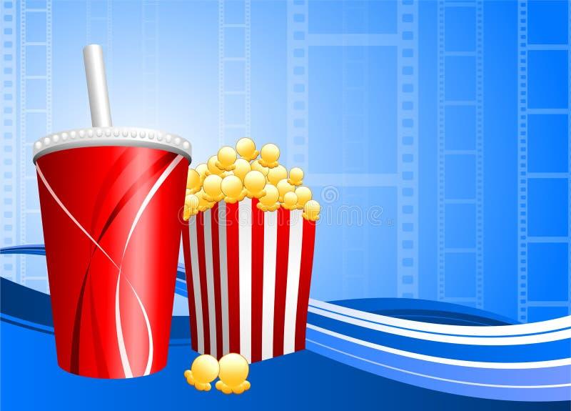 Popcorn und Soda auf Filmhintergrund stock abbildung