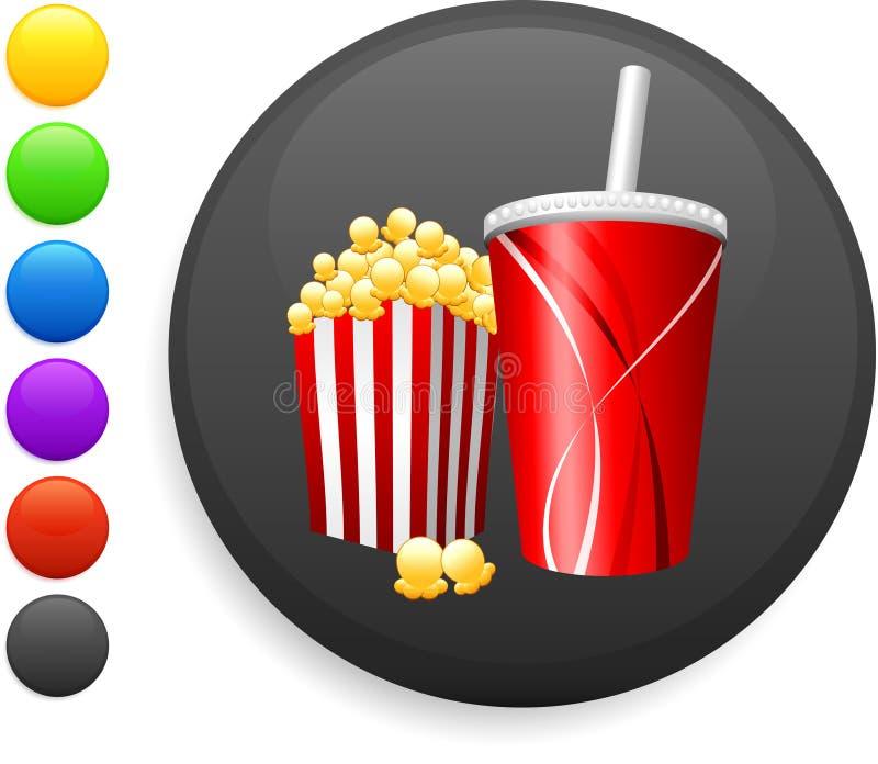Popcorn- und Sodaikone auf rundem Internet knöpfen stock abbildung