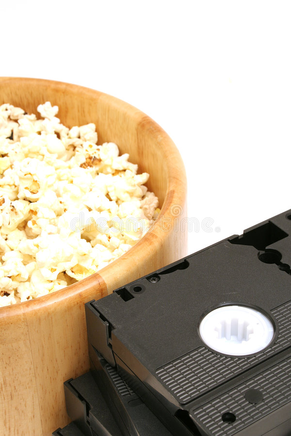 Popcorn & video. Picture of a popcorn & video royalty free stock images