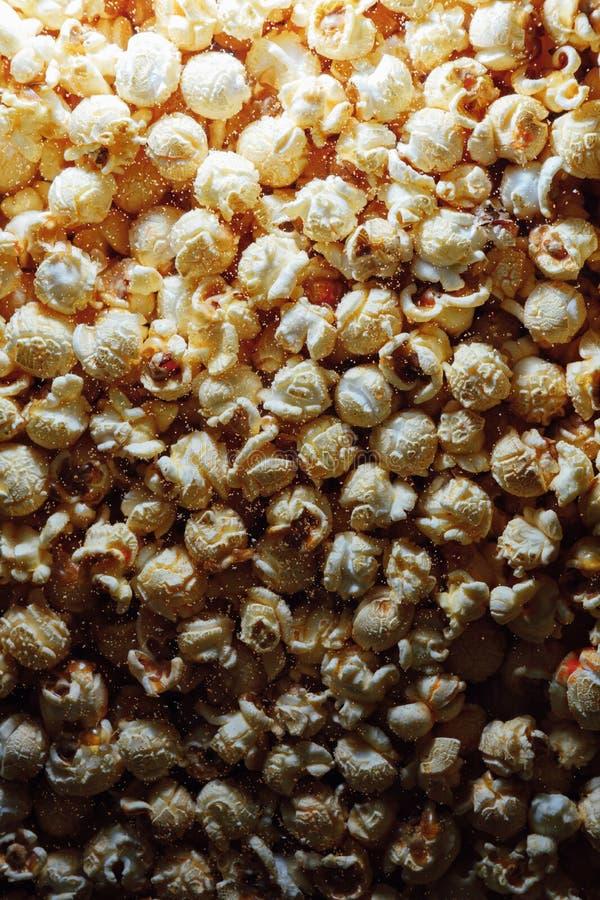 Popcornachtergrond, close-upmening royalty-vrije stock afbeelding