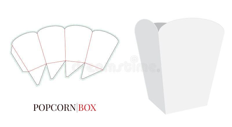 Popcornaskillustration Vektor med stansade lager Vitt klart, mellanrum som isoleras på vit bakgrund royaltyfri illustrationer