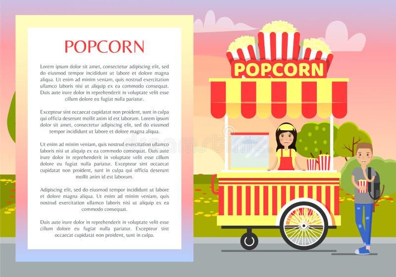 Popcornbaner och illustration för textprövkopiavektor stock illustrationer