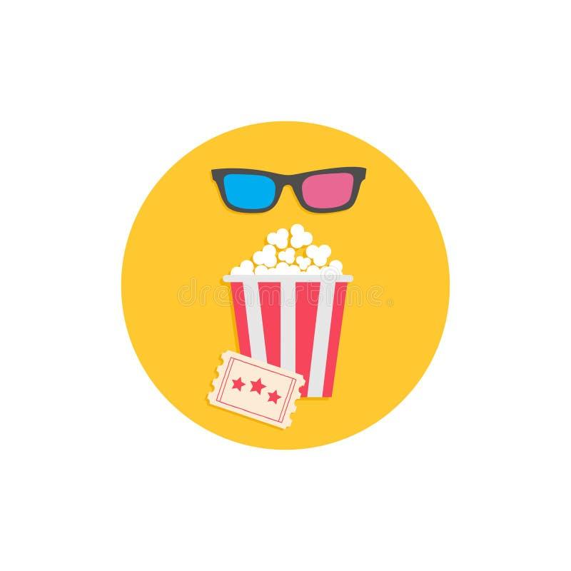 Popcorndoos, 3D glazen en kaartje Bioskoopfilm om pictogram in vlakke dsignstijl vector illustratie
