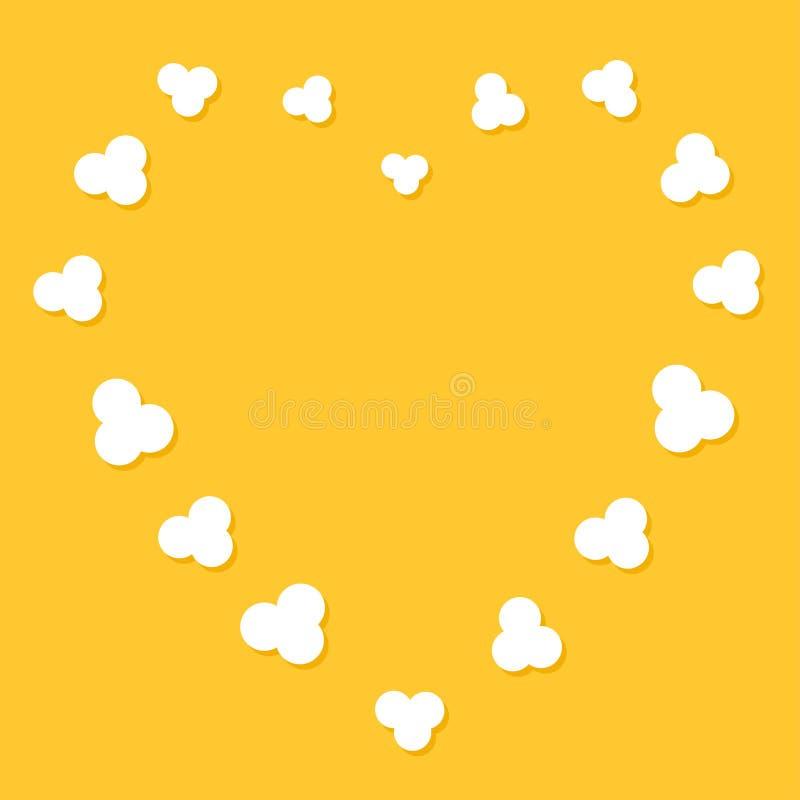 Popcornfliegenherz-Formrahmen Kinofilmnachtschablone vektor abbildung