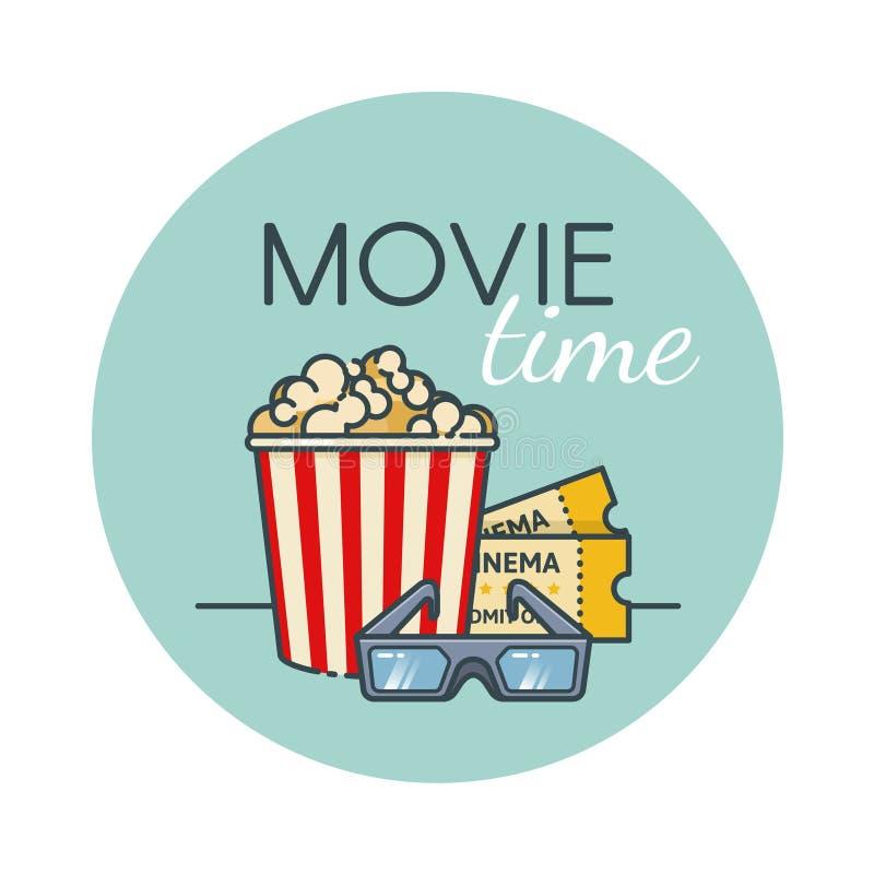 Popcornhink, filmbiljett och exponeringsglas 3d Biomellanmål Översiktslägenhetstil royaltyfri illustrationer