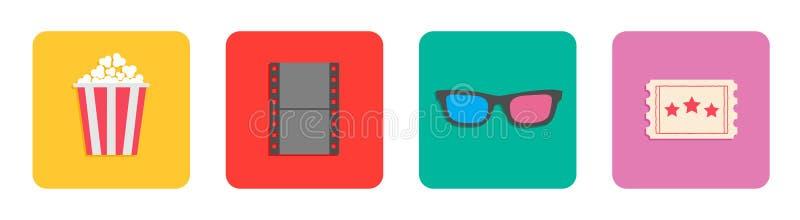 Popcornkasten, 3D Gläser, Karte, Film Filmkinoikonen-Satzlinie Flache Designart gelber Hintergrund lokalisiert stock abbildung