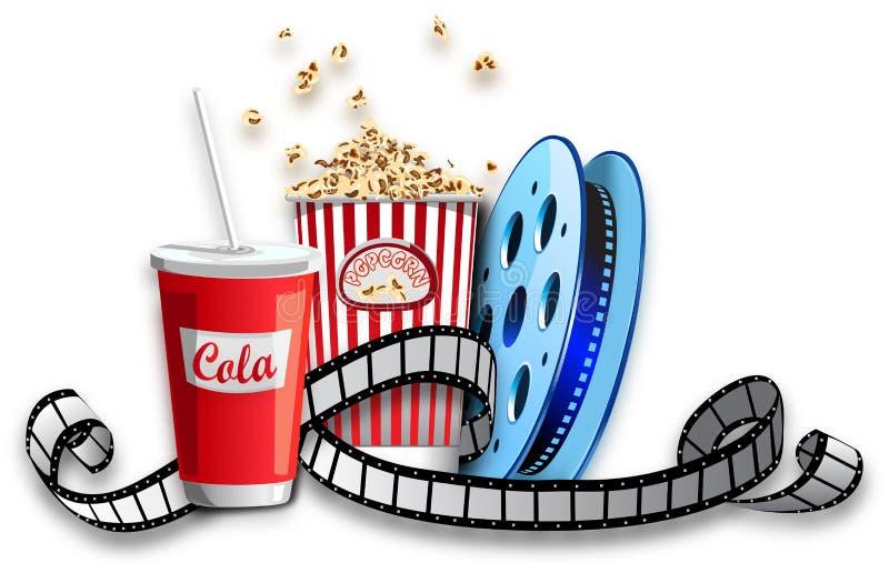 Popcornkola en filmstrook stock foto