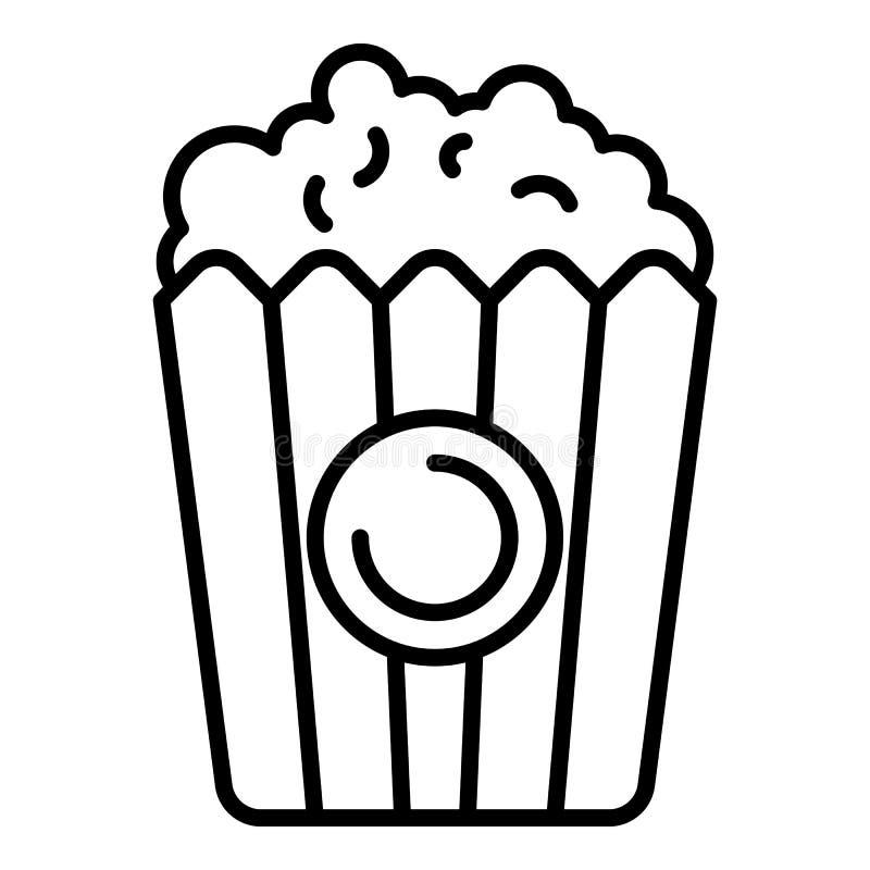 Popcornkorgsymbol, översiktsstil royaltyfri illustrationer