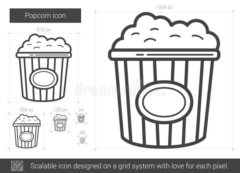 Popcornlinje symbol vektor illustrationer