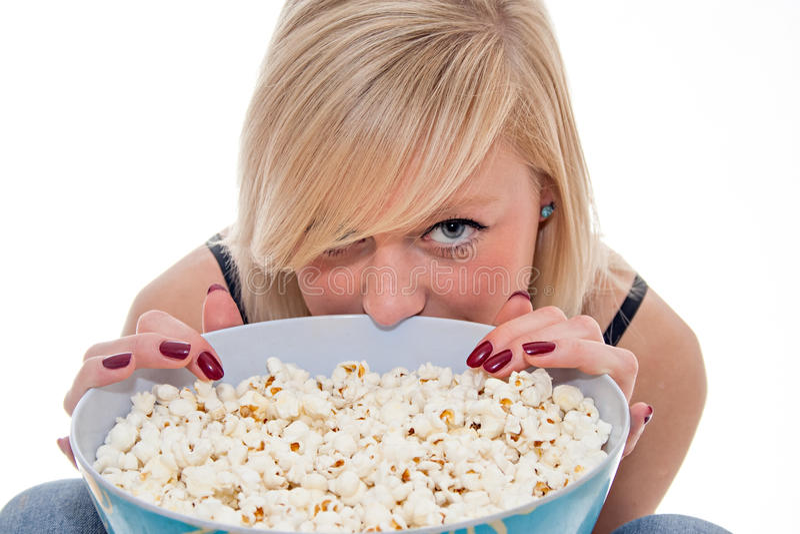 Popcornmeisje stock afbeelding
