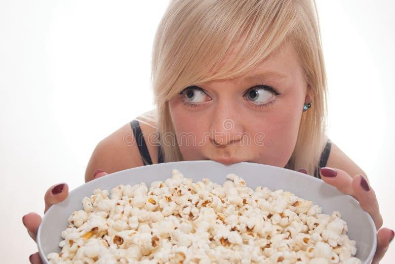 Popcornmeisje stock afbeeldingen
