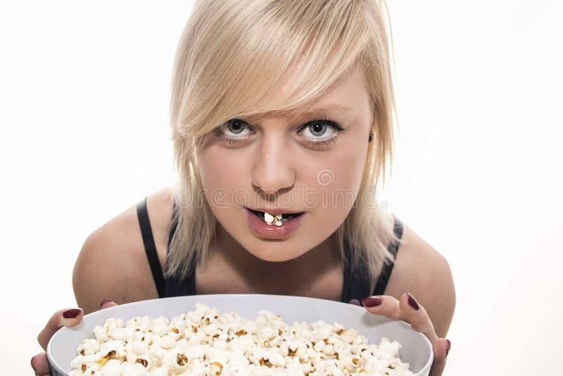 Popcornmeisje royalty-vrije stock afbeelding