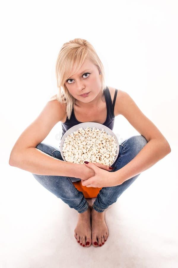 Popcornmeisje stock fotografie