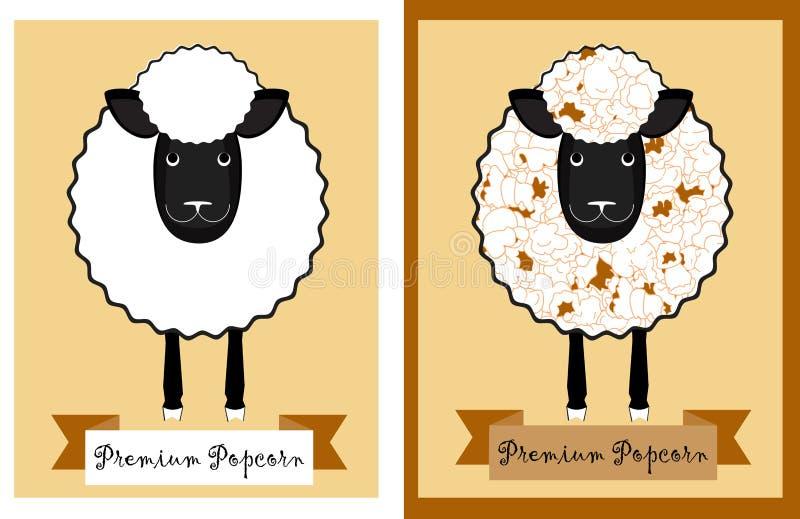 Popcornpackedesign med roliga får Får med popcornkärnor i stället för ull Genomskinlig popcornpaketdesign stock illustrationer