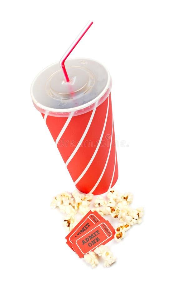 Popcorns, Karten und Soda lizenzfreies stockfoto
