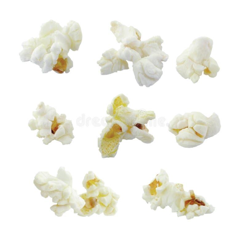 Popcornsammlung auf weißem Hintergrund stockfoto