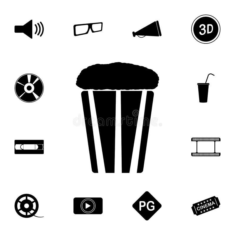 Popcornsymbol Detaljerad uppsättning av biosymboler Högvärdig kvalitets- symbol för grafisk design En av samlingssymbolerna för stock illustrationer