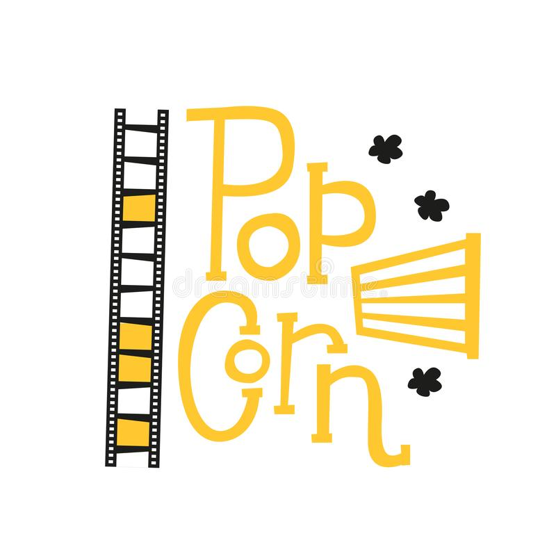 Popcorntextaufkleber mit dem Knallen, Filmstreifen und gestreiftem Korb Hand gezeichnetes Typografiezeichen Schwarzes und gelbes  stock abbildung