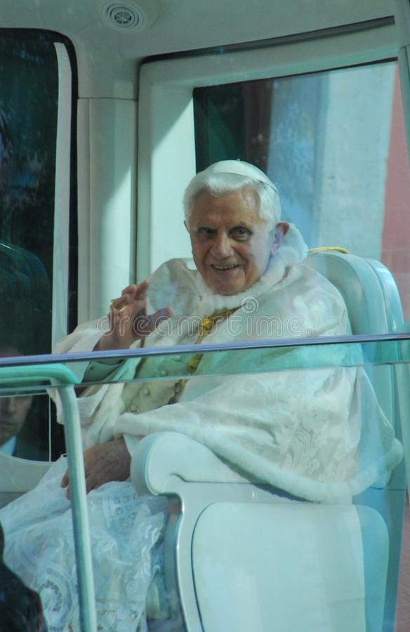 Pope Benedict XVI. LISBON - MAY 11: 2010 Pope Benedict XVI, born Joseph Alois Ratzinger is the 265th and reigning Pope, he succeeded Pope John Paul II on May 11 stock image