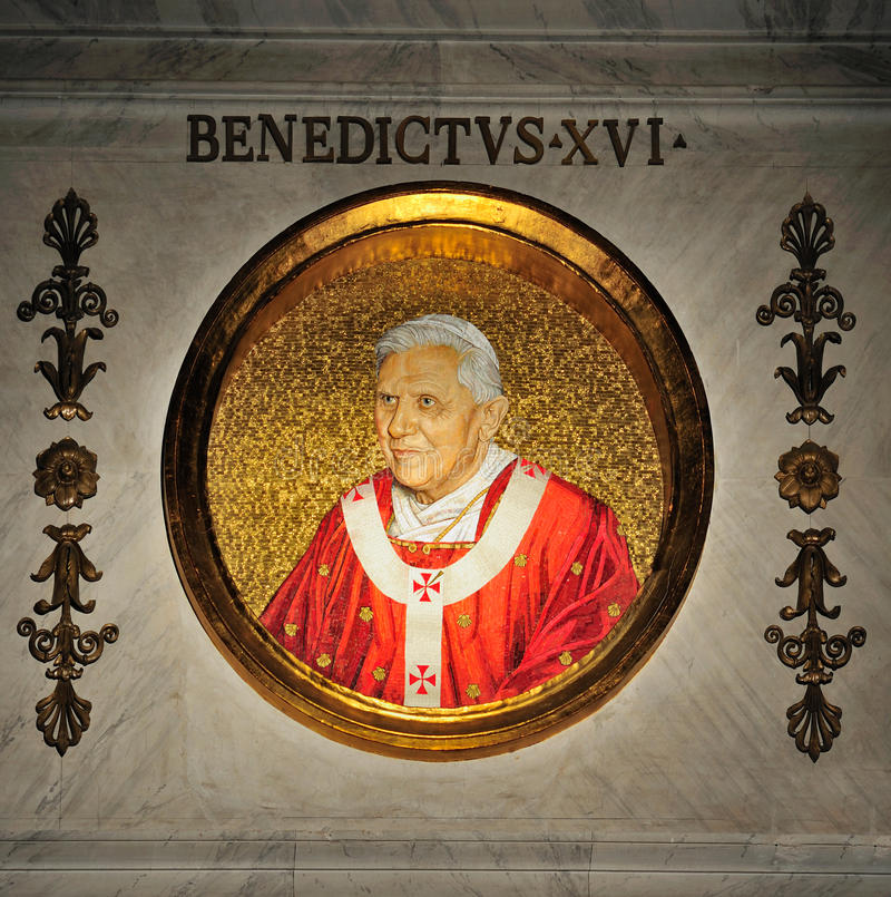 Pope Benedict XVI. A portrait in mosaic of Pope Benedict the sixteenth. this picture was taken in the basilica of Saint Paul behind the Walls (San Paolo Fuori le stock photo