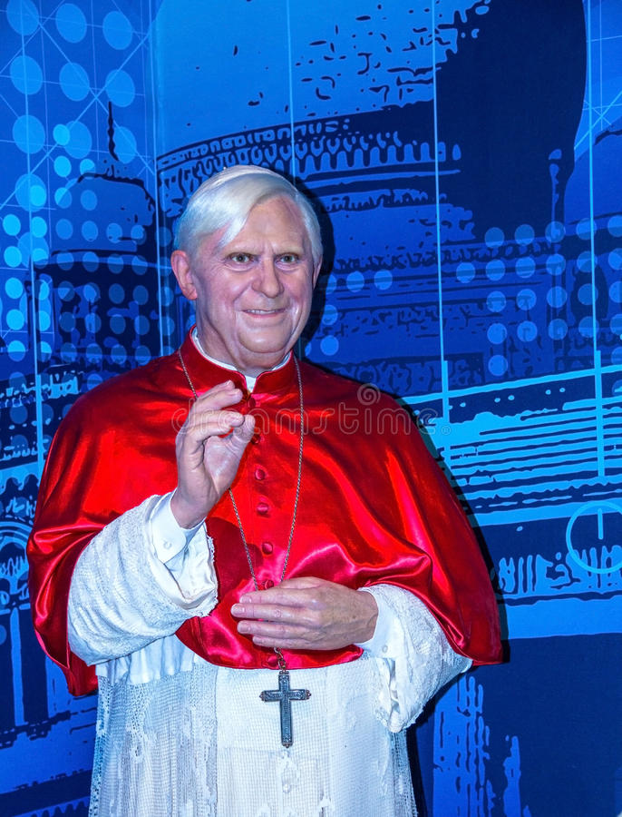 Pope Benedict XVI Figurine At Madame Tussauds Wax Museum. London. UK royalty free stock images