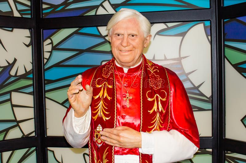 Pope Benedict XVI wax portrait, Madame Tussaud`s museum Vienna. Pope Benedict XVI is a senior prelate of the Catholic Church who served as its head and sovereign stock photos