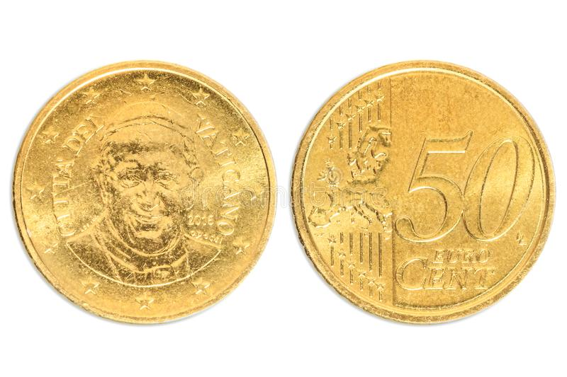 Pope double 50 cents. Italian two sides of the coin of 50 cents of euro close-up of Vatican City state in Italy. head side of Francesco Pope. Isolated on white royalty free stock photography