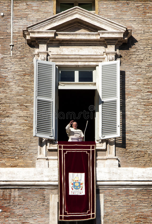 Pope Francesco appeared at the window. December 8, 2014. Immaculate Conception. The Catholic Church celebrates the Feast of the Immaculate Conception on royalty free stock photos