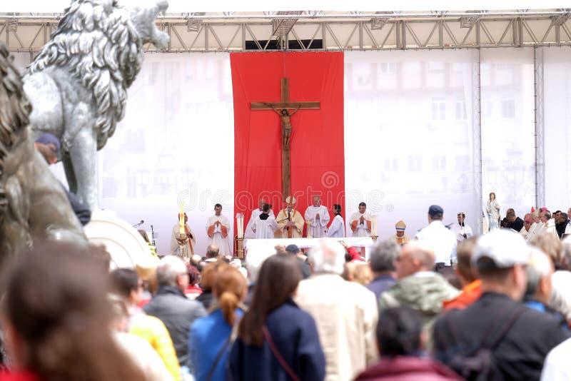 Pope Francis świętuje mszę w Macedonia kwadracie w Skopje, obrazy royalty free