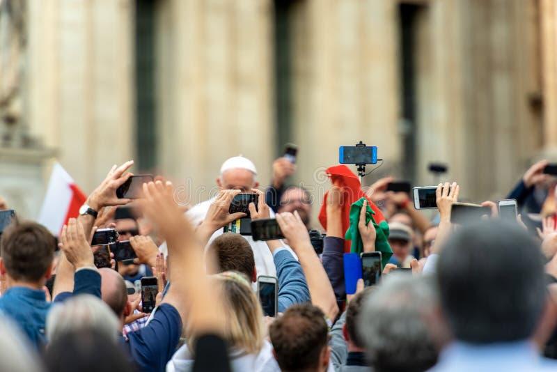 Pope Francis I among the faithful - Vatican City Rome stock photo
