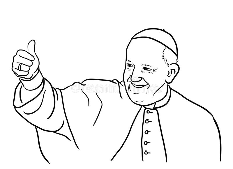 Pope Francis illustration. Hand drawn illustration of the pope Francis Jorge Mario Bergoglio smiling and showing thumb up. Editable vector file available