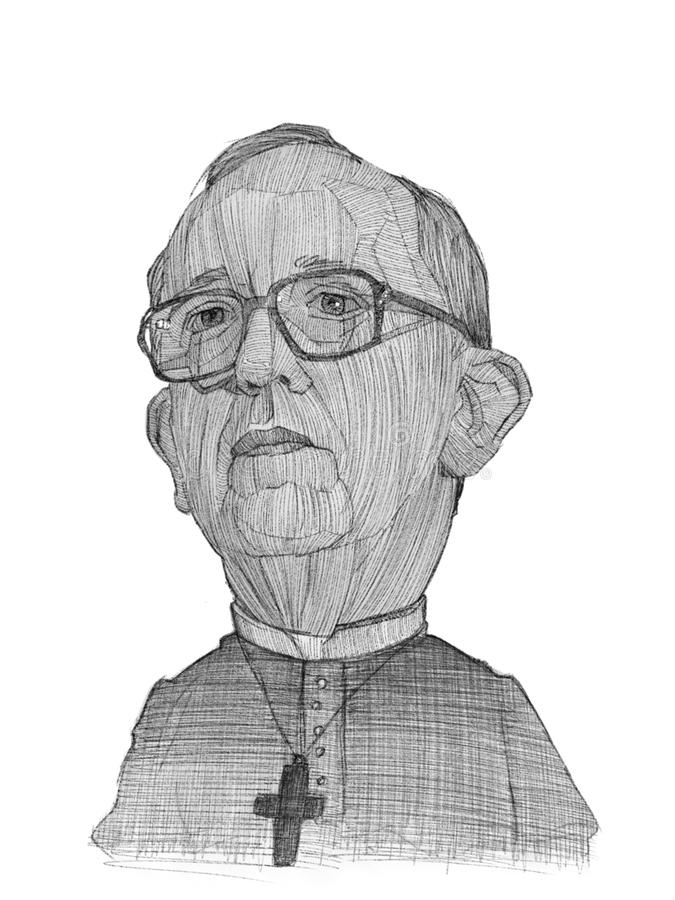 Pope Francis illustration sketch. For editorial use