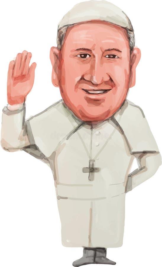 Pope Francis karykatura royalty ilustracja