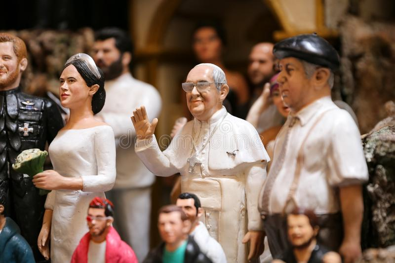 Pope Francis Miniature in Naples, Italy. Pope Francis Miniature in Naples City, Italy stock photography