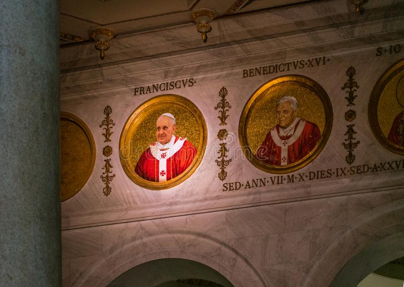 Pope Francis mosaic in the Basilica of Saint Paul Outside the Walls, in Rome. The Papal Basilica of St. Paul Outside the Walls, commonly known as St. Paul`s stock images