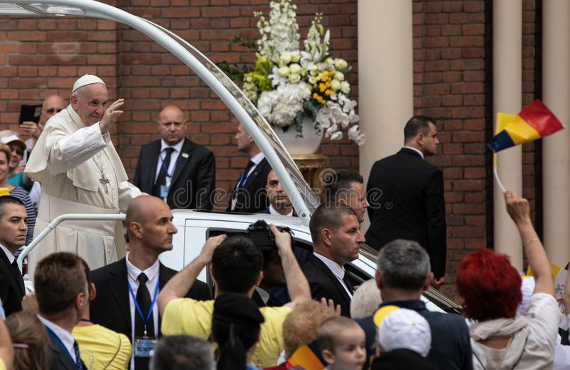 POPE FRANCIS ODWIEDZA RUMUNIA obrazy royalty free