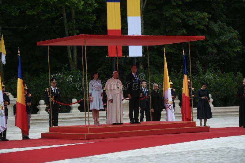Pope Francis wizyta Rumunia zdjęcia royalty free