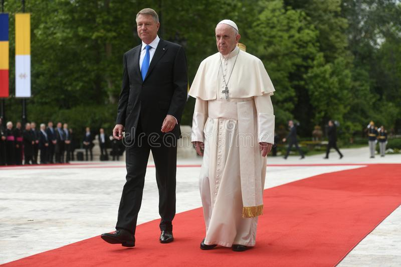 Pope Francis wizyta Rumunia obraz stock