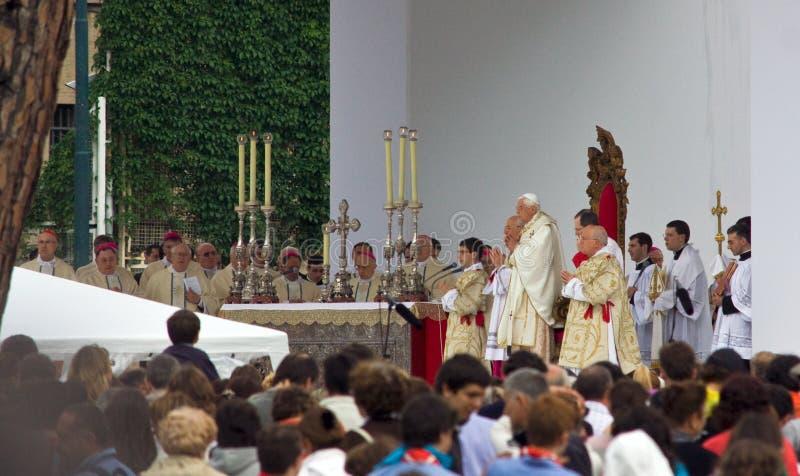 The Pope in Genoa stock photo