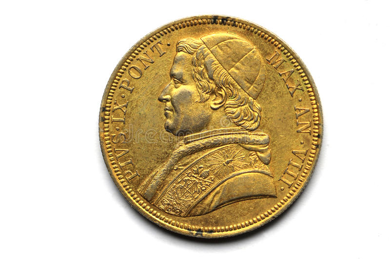 Pope gold coins of Pivs IX Pont 1853. Gold coins of Pivs IX Pont Max an VIII, SCVDO 1853 royalty free stock images