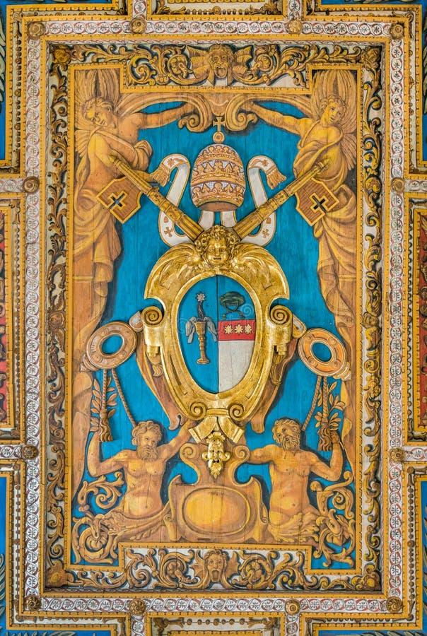 Pope Gregory XVI coat of arms from the ceiling of the Basilica of San Sebastiano Fuori Le Mura, in Rome, Italy. San Sebastiano fuori le mura Saint Sebastian stock photos