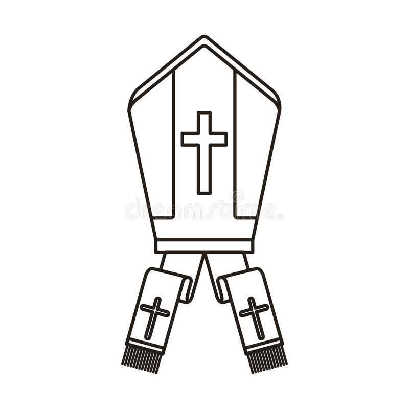 Pope kapeluszu ikona ilustracja wektor