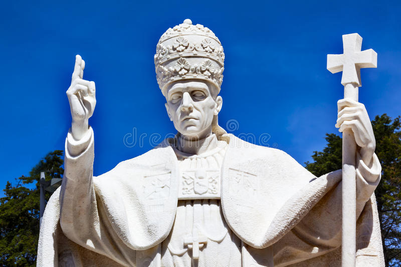 Pope Pius XII Statue Basilica of Lady of Rosary Fatima Portugal stock images