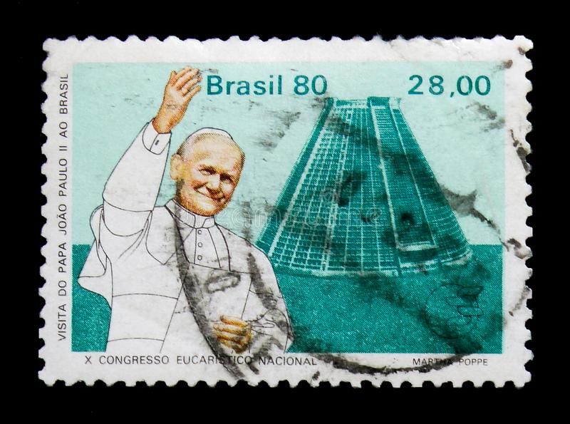 Pope/RJ, Visit of Pope John Paul II to Brazil serie, circa 1980. MOSCOW, RUSSIA - NOVEMBER 23, 2017: A stamp printed in Brazil shows Pope/RJ, Visit of Pope John royalty free stock image