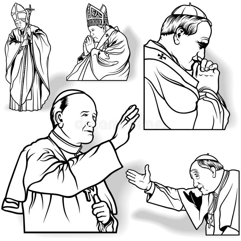 Pope set ilustracja wektor