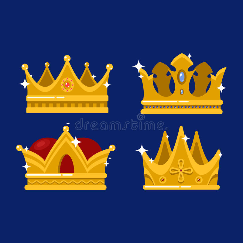 Pope tiara and king or prince shining crown vector illustration