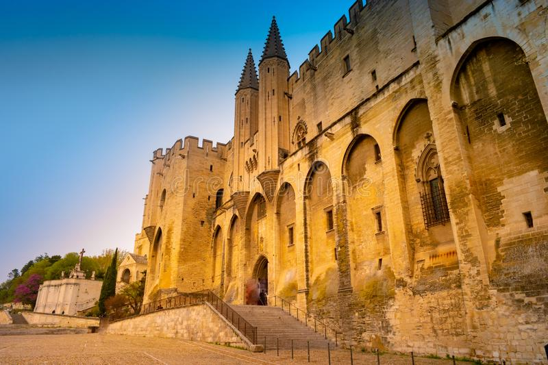 Popes` Palace of Avignon, in Southern France stock photo
