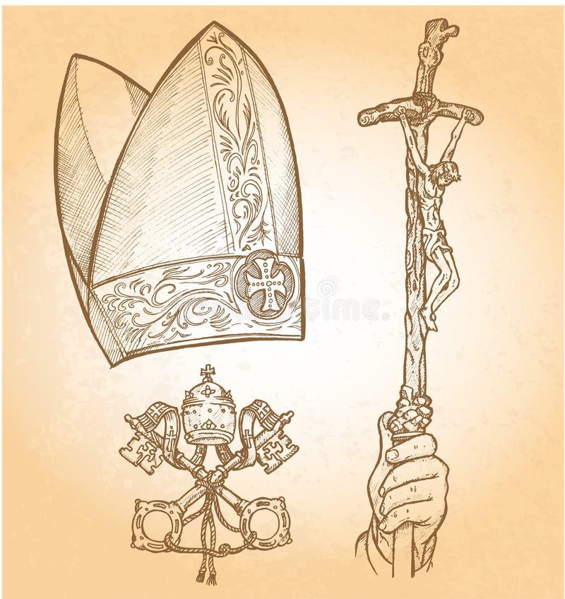 Popesymboler stock illustrationer